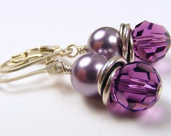 Amethyst Crystal and Pearl Love Knot Earrings on Sterling Silver Leverbacks. Swarovski. Purple. Lavender. February Birthday. Wedding Party.