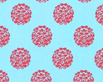 Quilting cotton fabric by the yard, medallion fabric, aqua fabric, 100% premium cotton by fabric designer Paula Prass for Michael Miller