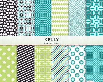 Digital Scrapbook Paper - Kelly - Blue Green Navy  -  Scrapbooking Instant Download - Personal Commercial G7778