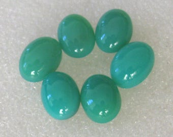 6 pieces chrysoprase cabachons  great color 10 x 14mm
