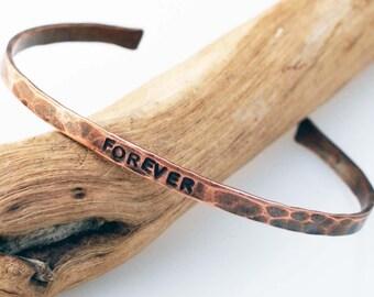 Hammered Copper Cuff, Anniversary Bracelet,  Forever Bracelet, Oxidized Copper, 7 Year Anniversary Gift