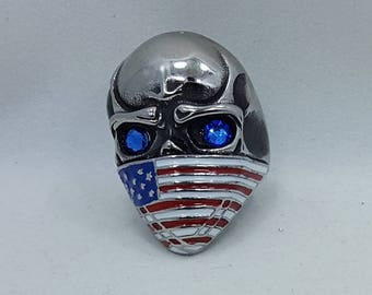 For Harley Davidson owners riders Biker Ring USA Flag Skull Bandana stainless steel enamel hand jeweled w Swarovski Crystal rhinestones WOW
