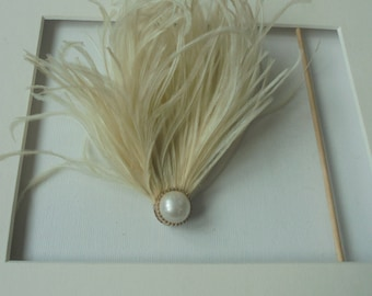 Ivory feather hairclip
