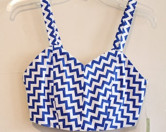 OOAK Blue and white chevron crop top, womens small crop top, blue tank top, blue and white chevron stripe top, crop top