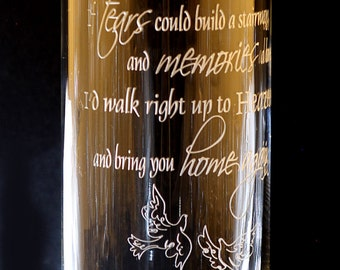 Memorial Engraved Floating Candle Vase