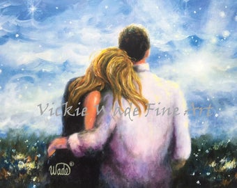 Loving Couple Art Print, blonde girl, young lovers, romantic couple, couple in love, hugging, romantic, anniversary paintings, Vickie Wade