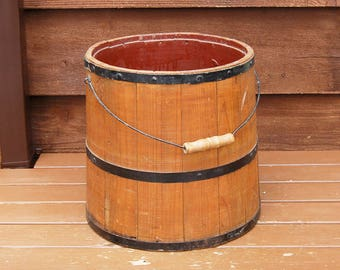 Large Wood Bucket, Vintage Firkin, Primitive Wooden Firkin, Storage Bucket, Wooden Firkin, Magazine Bucket, Kindling Bin