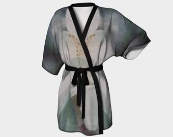 White flower  2  kimono robe