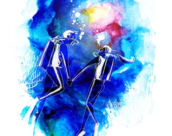 Scuba Diving Watercolor Art