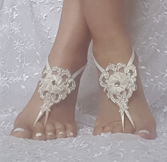 ivory silvery bridal beach barefoot sandals, wedding barefoot sandals, bangle, ivory silver embrodeired flowers,