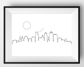 Minneapolis Skyline, Minneapolis art, Minneapolis print, Minneapolis poster, Minneapolis, Minneapolis gift, Minneapolis artwork, Minneapolis