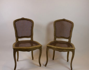 Antique French 19th Century Caned and Painted Chairs