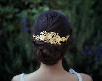 Royal fleur couronne, bandeau Floral, fleurs dorées, bandeau fleur enfant, Accessoires cheveux de mariée, les mariées casque, Couronne, diadème de fleurs