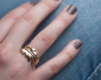 Feather ring, Gold plated ring, Feather jewelry, Boho ring, Gold plated feather ring, Tribal ring, Gypsy ring