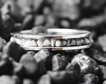 Diamond Wedding Band Custom Wedding Band Sterling Silver Ring Wedding Band Grey Diamond Ring Personalized Ring Personalized Silver Ring