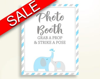 Photobooth Sign Baby Shower Photobooth Sign Elephant Baby Shower Photobooth Sign Blue Gray Baby Shower Elephant Photobooth Sign C0U64
