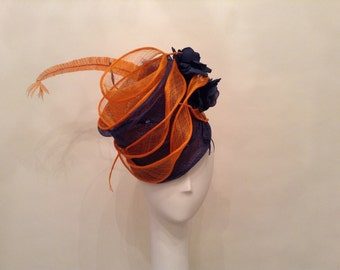 "Couture Derby Fascinator- Headpiece - Hat- Sinamay- Blue Ombre - ""Meredith"" - Kentucky Derby- Wedding - Church-Women's Headwear- Millinery"