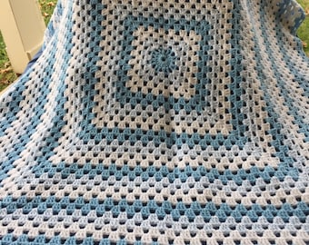 Shades of Blue and White Baby Afghan includes Free Shipping