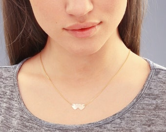 Double Heart Necklace, Silver or Gold,  Personalized Double Heart Necklace, Silver Heart Necklace, Bridesmaid Gift
