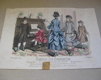"Antique Fashion Drawing ""Journal Des Demoiselles""  Edited 1875."
