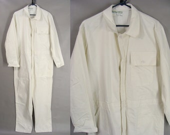 As-Is. White Coveralls. or Customizable Zombie PSYCHO. Mental Patient Costume. OPTIONAL BLOOD & Distressing. Halloween Costume. size L Large