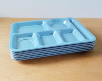 Vintage Texas Ware Lunch Trays • Set of 6 Melamine Cafeteria Trays • Mid Century Melmac Confetti Blue Trays
