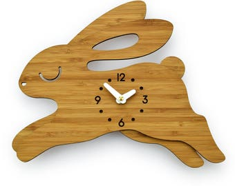 BUNNY - RABBIT - Bamboo Wall Clock - Children's Room Decor - Nursery Decor - Baby Shower Gift - Forest Animal - Wall Decor - Cute Decor