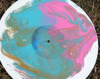 Vinyl record painting/ abstract/ wall art/ decor/ pink & blue flow art/acrylic/art heals/FREE SHIPPING/ art for charity