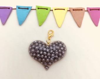 Enchanted Silver Balls Sprinkles Heart Charm