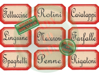 Red Pasta Jar Labels Printable 9 Vintage Style Farmhouse Canister French Typography Font Penne Rigatoni Farfalle Linguine Fettuccine Rotini