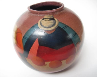Vintage Signed Martinez South American Pottery Vase