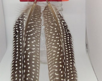 Natural feather earrings long