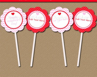 Valentine Cupcake Toppers - Valentines Day Cupcake Picks - Printable Valentine Party Favor Tags - Instant Downoad Valentines Day Decor V1