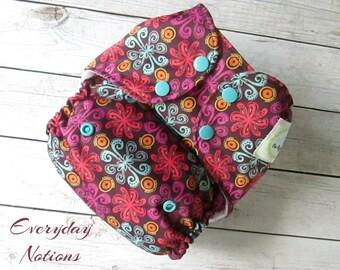 Cloth Diaper - Purple Folk Flowers - One Size Pocket Cloth Diaper