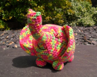 Esmeralda elephant, colourful amigurumi crochet toy.