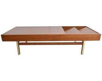 Mahogany and Brass Coffee Table by Merton Gershun, ca. 1970