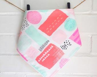 Bib/ Bandana / Bibdana / Baby Scarf Baby Girl 80' Pastel colors minth pink teether