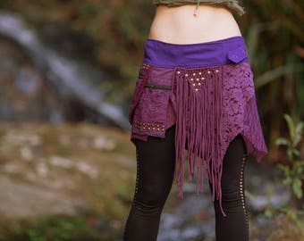 Alessia Studded Pocket Skirt (Purple) - Festival Clothing Stud Gypsy Goa Fairy Hippie Boho Vintage Wrap Skirt with Belt and Pockets Bohemian