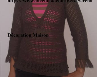 Brown sweater with crochet tassels