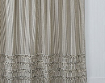 Ticking Stripe Ruffle Shower Curtain Black 72x72 Or 72x84 72x96 Extra Long  Or Extra Wide 108x72