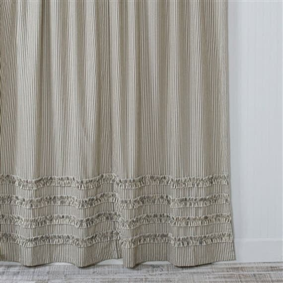 Ticking Stripe Ruffle Shower Curtain Black 72x72 Or 72x84