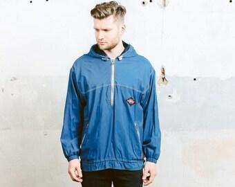 Vintage 80s Shell Jacket . Mens Windbreaker Anorak Jacket 1980s Blue Sports Jacket Activewear 90s Grunge Club Kid Outerwear . size Medium M