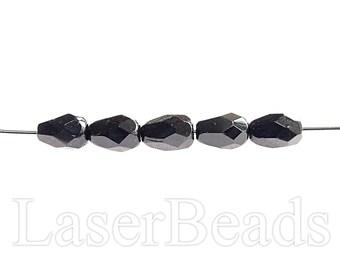 40pc Faceted teardrop beads 7mm Czech fire polished black teardrops Black beads Opaque black beads glass