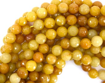 "12mm natural faceted yellow jade round beads 15"" strand 39231"