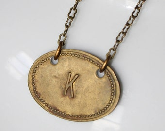 "Vintage Brass Tag ""K"" Necklace"