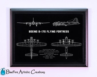 B17G WW2 Bomber Aircraft Engraved Blueprint Plaque, Guy Gift, Aircraft Gift, Pilot Gift, Wall Art, Aircraft Art