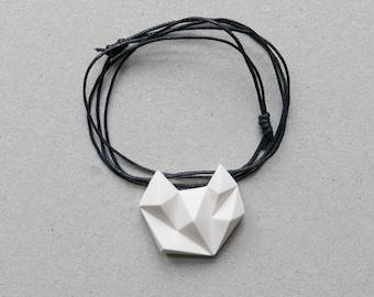 White minimalist geometric triangle necklace. natural cotton chain. minimal cat fox animal shape