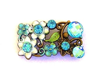 1 large aqua floral 2 hole slider bead or spacer, light turquoise two hole bead, sparkly blue rectangle double hole, 33mm x 18mm