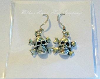 Skull & Crossbone Tibetan Silver Earrings