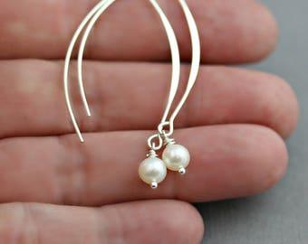 SIMPLEY ELEGANT PEARL Sterling Silver Drop Earrings